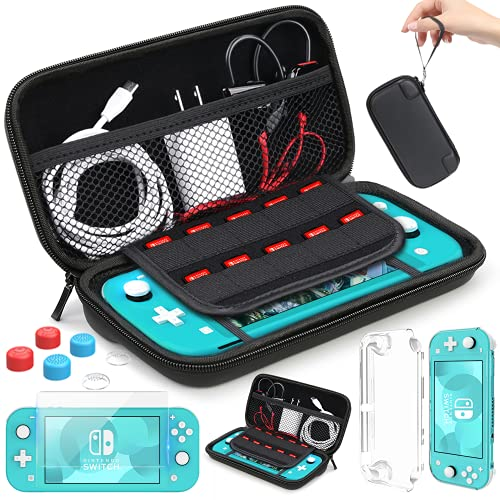 Carrying Case Compatible with Nintendo Lite Mini Cover Case Tempered Glass Screen Protector Games Card 6 Thumb Grip Caps Compatible with Nintendo Switch Lite Accessories Kit