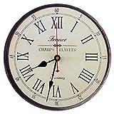 SEJU 12 'Relojes de pared de madera silenciosos con número romano, para sala de estar / cocina / dormitorio / oficina / sala de estar, estilo vintage / rural / retro / francés, reloj de pared decorativo sin tictac (Francia)