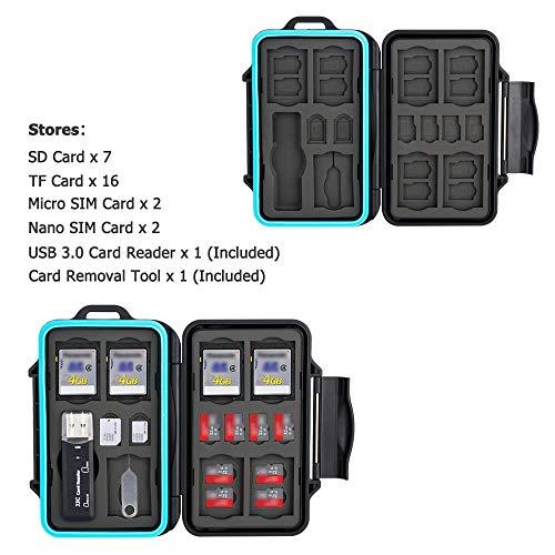 JJC Estuche Impermeable para tarjetas de memorias: 16 x tarjetas Micro SD SDHC SDXC + 7 x tarjetas SD SDHC SDXC con USB 3.0 Lector Tarjetas y Mosquetón