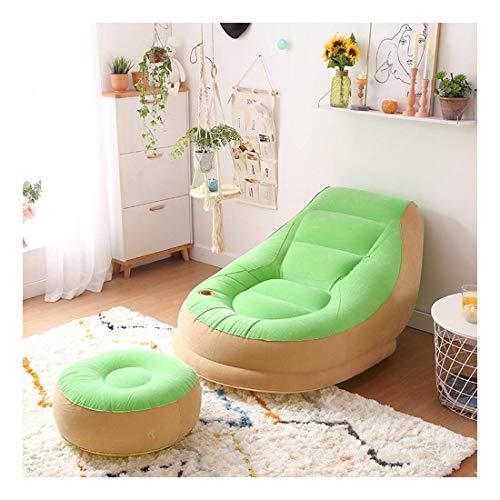 Tragbares Sofa Sofa Aufblasbares Lazy Sofa Einzelschlafsofa Kreatives Licht Bequemes Wohnzimmer Schlafzimmer Nap Nap Freizeitstuhl Mit Fußstütze 95 × 143 cm (Farbe: Grün)