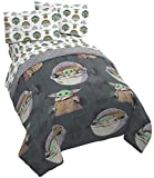Star Wars The Mandalorian The Child 4 Piece Twin Bed Set - Includes Reversible Comforter & Sheet Set - Bedding Features Baby Yoda - Super Soft Fade Resistant Microfiber (Official Star Wars Product)