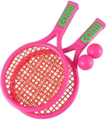 RENFEIYUAN 1 par de niños Raquetas de Tenis Infantil niños de plástico de bádminton Raquetas Juego de Accesorios para la Escuela Primaria de Kindergarten (tamaño s Rosa) Badminton Raqueta