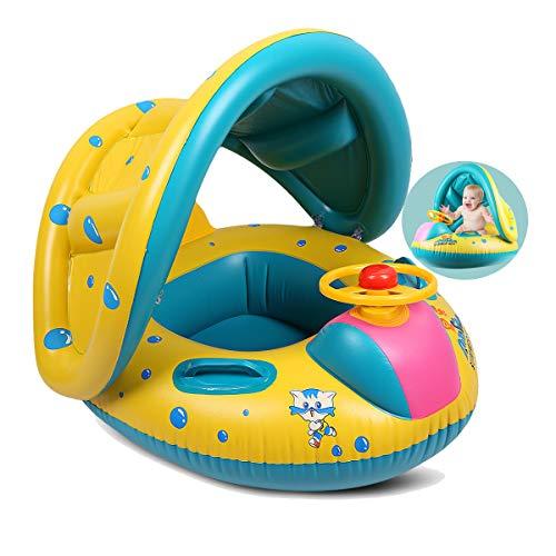 Vohoney Schwimmring Baby Schwimmreifen Schwimmtrainer Aufblasbarer Swimming Ring PVC Baby Schwimmhilfe Spielzeug Kleinkinder 6 Monate bis 36 Monate Babys Kleinkinder (Gelb Baby Schwimmring)