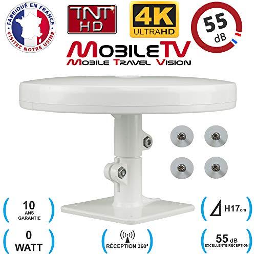 Antenne TV TNT HD 4K UltraHD Omnidirectionnelle 55dB avec Pieds MAGNÉTIQUES - Camping Car/Camion/Caravane/Poids-Lourd/Fourgon - Omni Pro Plus MobileTV - Garantie 10 Ans