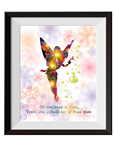 Uhomate Princesss Tinkerbell Peter Pan Never Grow Up Home Canvas Prints Wall Art Inspirational Quotes Wall Decor Living Room Bedroom Bathroom Artwork C015 (8X10)
