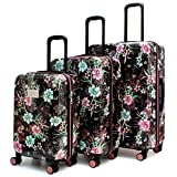 BADGLEY MISCHKA Essence 3 Piece Hard Spinner Luggage Set (Winter Flowers)