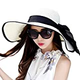 Lanzom Womens Big Bowknot Straw Hat Large Foldable Roll up Sun Hat Beach Cap UPF 50+ (White)
