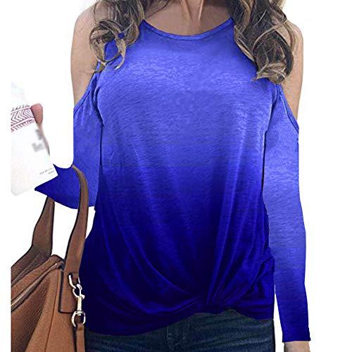 Langärmliges T-Shirt Herbst- und Winterdruck Twisted Rainbow Gradient Damenbekleidung