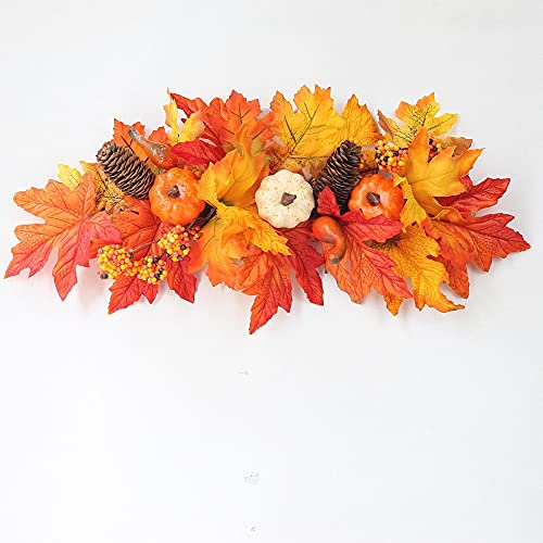 Artificial Horizontal Swag with Pumpkins and Leaves.