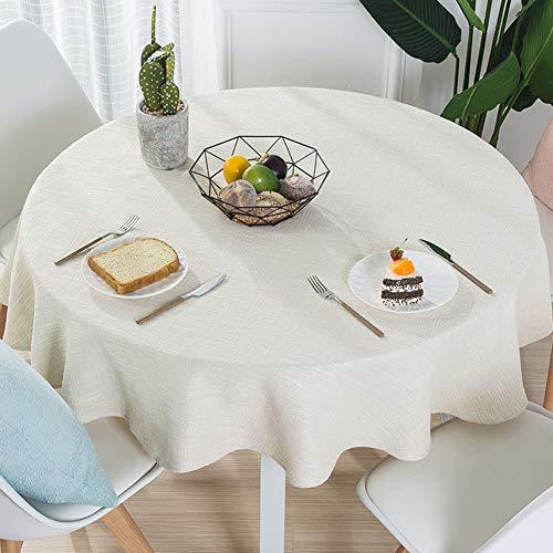 LZC Tovaglia da tavola Rotonda in Tinta Unita in Cotone e Lino per Ristorante Tovaglia Moderna Minimalista Moderna, Beige, Diametro 200 cm