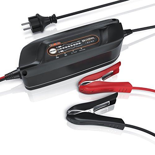 Brandson Autobatterie Ladegerät - Autobatterie Motorradbatterie Batterieladegerät - 8 Ladeschritte - Leistung 12V 5 Ampere - Instandsetzung von Auto und Motorradbatterien
