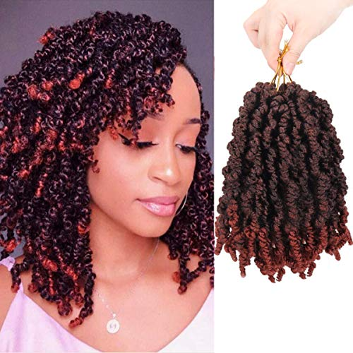 3Packs Pre-twisted Spring Twist Hair 8 Inch Pre-Twisted Short Passion Twists Crochet Braids For Bob Spring Twists Short Curly Bomb Twist Braiding Hair Hair Extensions 18Strands/Pack (T1B/350#)