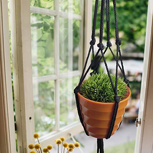 Koitoy Makramee Blumenampel Hängeampel für Kleine Blumentopf Innen oder Außen Hängender Blumentopf Pflanzenhalter Pflanzenhänger für Balkon Decke Schwarz (4) - 3
