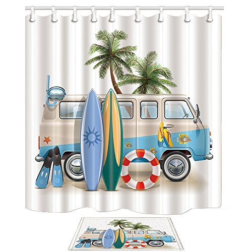 NYMB Surfing Bath Curtain, Wooden Surfboard Palm Tree Lifebuoy Leaning on Minivan, Polyester Fabric Shower Curtains Fantastic Decorations,with Bath Rug 15.7x23.6in