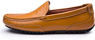 Xiang Ye Men's Driving Loafer Casual OX Leather Soft Sole Solid Color Leisure Boat Moccasins (Color : Yellow, Size : 5 UK)