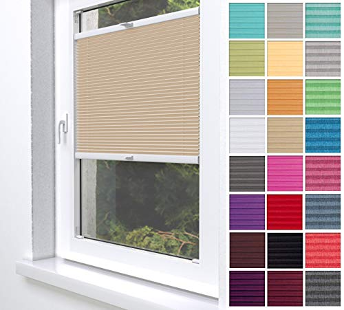 Home-Vision® Premium Plissee Faltrollo ohne Bohren zum Kleben Innenrahmen Blickdicht Sonnenschutz Jalousie für Fenster & Tür (Beige, B25 x H100cm)
