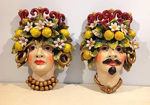 Petra d'amuri Maschere Coppia Teste di Moro h 20 cm. Decorata con Frutta in Ceramica di Santo Stefano di Camastra Hand Made in Sicily