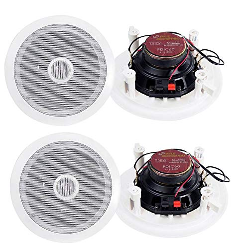 Best Price Pyle 6.5 500W 2-Way Round In-Wall/Ceiling Home Audio Speaker System, White, 4pk