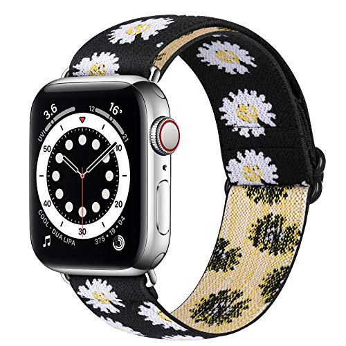 Runostrich Nylon Elastic Watch Band Compatible for Apple Watch 40mm 38mm, Stretchy Adjustable Sport Loop Replacement Strap for iwatch Series 1/2/3/4/5/6/SE (Sunflower, 38mm/40mm)
