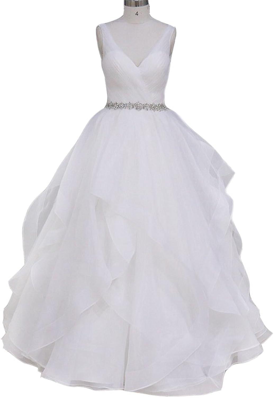 Elegant V neck Crystal Beaded Wedding Dresses Pleat Ruffle Backless Bridal Gowns
