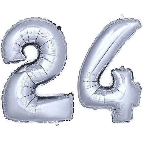 DekoRex® Folienballon Zahlenballon Luftballon Geburtstag Deko 80cm Zahl Silber 24