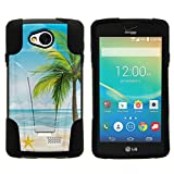 TurtleArmor | Compatible with LG Tribute Case | LG Optimus F60 Case | LG Transpyre Case [Gel Max] Combo Hybrid Case Hard Shell Kickstand Impact Absorber Layer Beach - Beach Shore