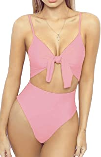 d1b2ba9abce LEISUP Womens Spaghetti Strap Tie Knot Front Cutout High Cut One Piece  Swimsuit