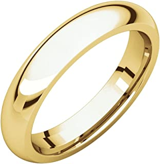 FB جواهر الذهب الأصفر 14 قيراط 4.5 مم الراحة صالح الرجال خاتم الزفاف الفرقة