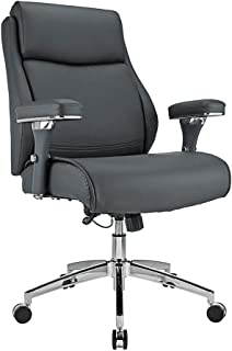 Realspace Modern Comfort Keera Bonded Leather Managerial Mid-Back Chair, Gray/Chrome