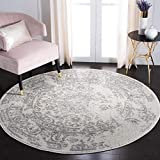Safavieh Adirondack Collection ADR101B Oriental Distressed Non-Shedding Stain Resistant Living Room Bedroom Area Rug, 6' x 6' Round, Ivory / Silver