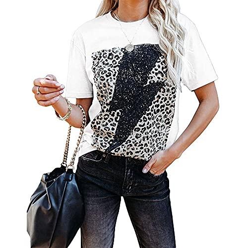 Moda para Mujer Lightning Tops con Estampado de Leopardo Camisetas gráficas de Manga Corta Blusa túnica de Verano Sudaderas con Cuello Redondo Estampado Rayas con Estampado Tops Camiseta