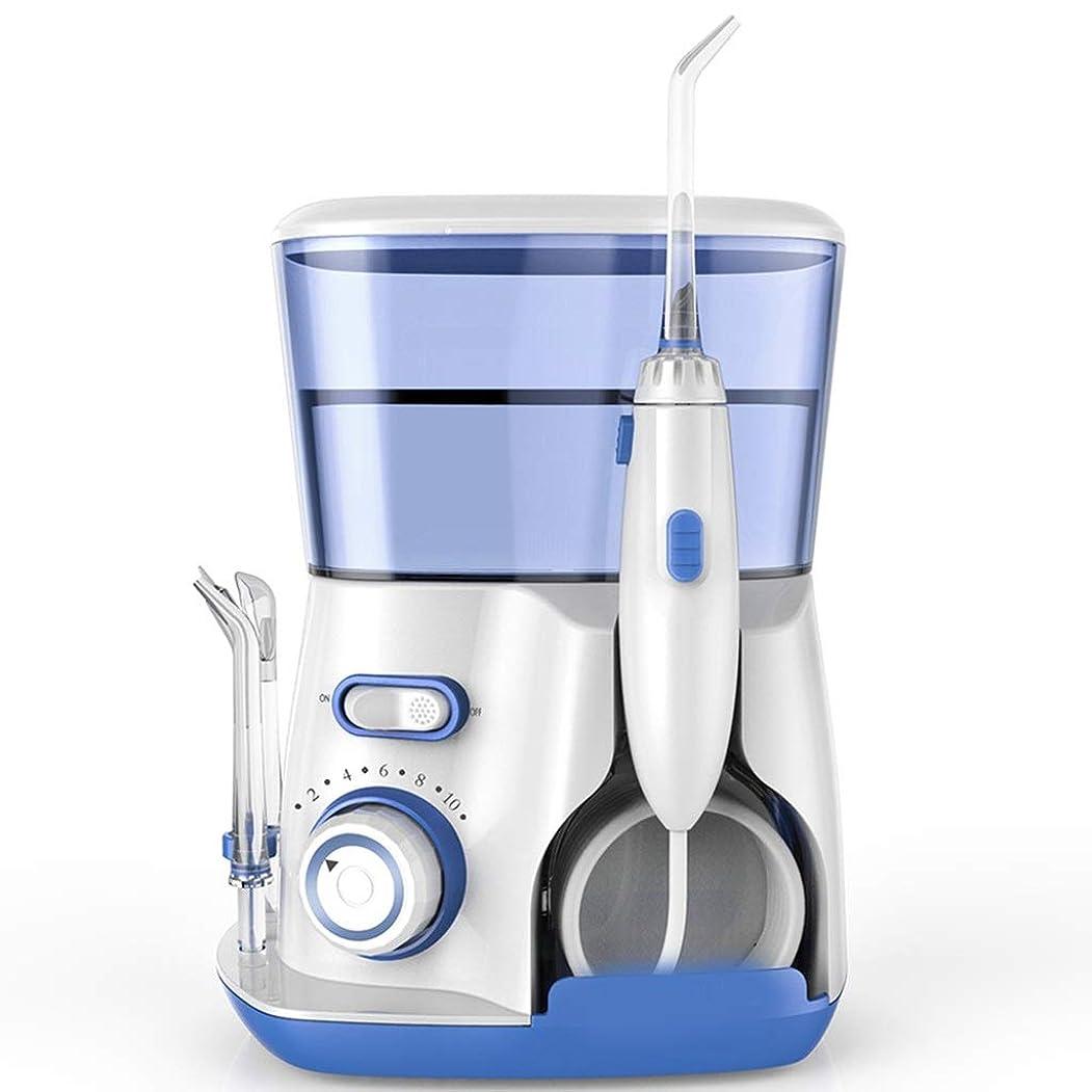 セイはさておきサークル領域プロのコードレス歯科用口腔洗浄器 - ポータブルおよび充電式IPX7は、家庭用および旅行用の洗浄可能な水タンクで3モードのフロスを防水、ブレース、ブリッジのお手入れ (Color : Blue)