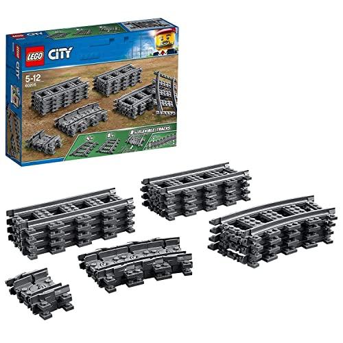 LEGO 60205 City Vías Juguete de Construcción con 8 Tramos de Vía Rectos, 4 Curvos y 8 Flexibles