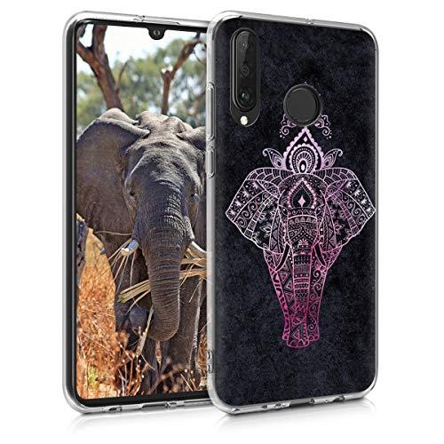 kwmobile Hülle kompatibel mit Huawei P30 Lite - Handyhülle - Handy Hülle Elefant Zeichnung Pink Anthrazit