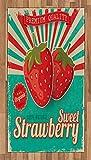 ABAKUHAUS Obst Teppich, Retro Poster Erdbeeren,