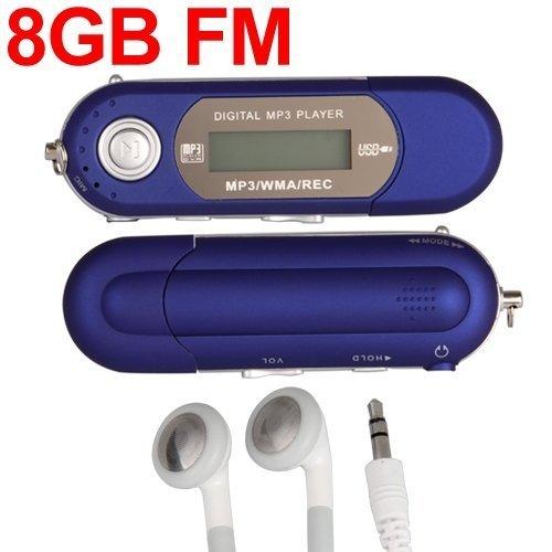 Blue 8GB LCD Mini MP3 WMA Player FM Radio USB Flash Drive