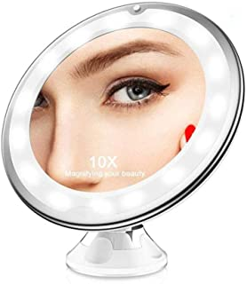 LED Makeup Mirror with Suction Cup LED Bathroom Mirror Round Suction Cup Mirror 360 Degree Rotating Double-Sided Mirror Single-Sided high List Magnification Product Size About 200mm × 220mm × 80mm