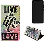 K-S-Trade® Schutzhülle Für Sharp Aquos D10 Schutz Hülle 360° Wallet Case ''live Life Love'' Schutzhülle Handy Tasche Handyhülle Etui Smartphone Flip Cover Standfunktion (1x)