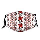 Ukrainian Embroidery Style Rose Face Mask Washable and Reusable Adjustable Dust Masks Cover