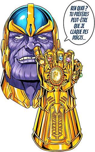 Okiwoki T-Shirt Noir Thanos parodique Thanos Le Super-Vilain d'Avengers : Une Menace (Pas) très sérieuse. (Parodie Thanos)