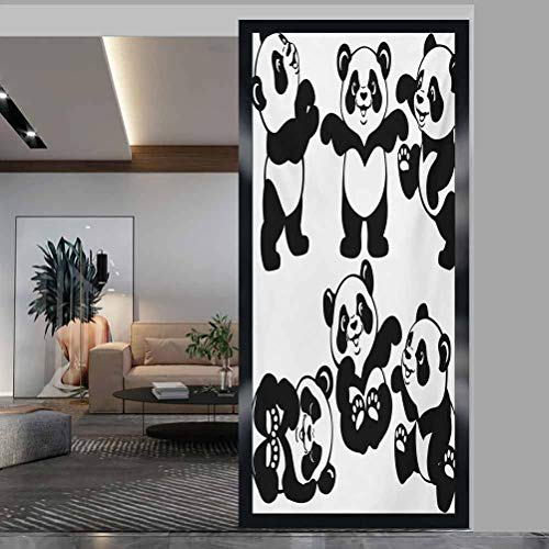 wonderr Window Film Stained Glass Stickers, Nursery Set with Playful Panda Bear in Monochrome Style, Non Adhesive No Residue Easy Trim Films for Sun Blocking, W17.7xH78.7 Inch