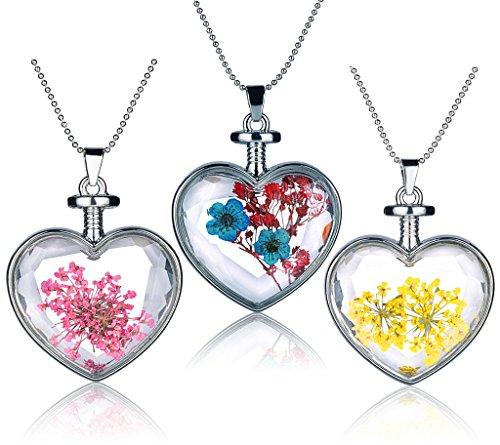 Yumilok 3pcs rojo/amarillo/azul real flores secas espécimen cristal transparente aleación corazón botella...