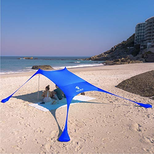 SUN NINJA Pop Up Beach Tent Sun Shelter UPF50+ with Sand Shovel, Ground Pegs,and Stability Poles, Outdoor Shade for Camping Trips, Fishing, Backyard Fun or Picnics (7x7.5 FT 2 Pole, Royal Blue)