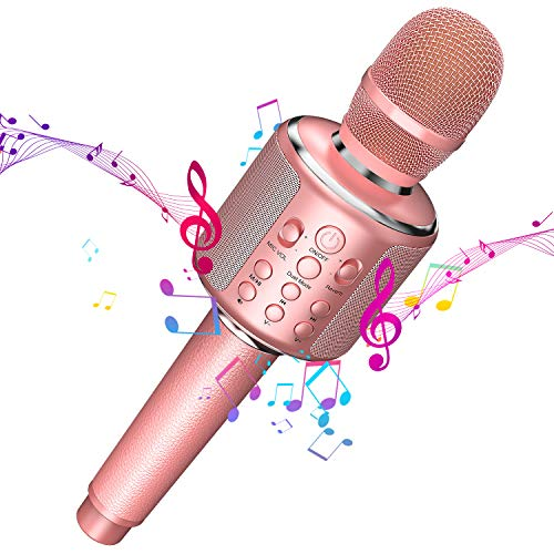 Wireless Bluetooth Karaoke Microphone,3-In-1 Leather Portable Handheld Singing Machine Speaker Mic for Adult Teens Girls Kids Party Birthday Gift Toys for iPhone/PC,Support Duet(Pink)