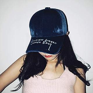 DUOLUO ファッション暖かいベルベットの文字が野球帽の男性と女性の秋と冬のストリート野生の曲がったキャップの韓国語バージョンを刺繍