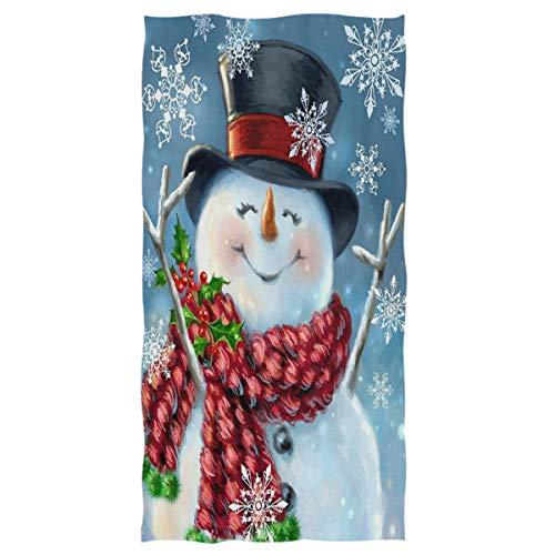 Christmas Winter Snowman Hand Towels 16x30 in Red Scarf Snowman Snowflake Bathroom Towel Ultra Soft Absorbent Small Bath Towel Xmas Bathroom Decor Gifts