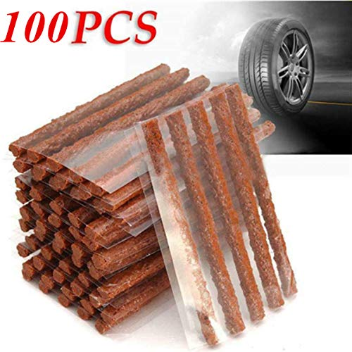 HappyBeeYo Pack of 100 Tire Repair Plugs, Tire Repair Strings Rubber Strips,Self Vulcanizing Tubeless Seal(100mm x 6mm) for Cars