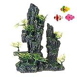 Uotyle Decoración del acuario Vista de la montaña, paisaje rocoso roca escondida cueva piedra resina tronco tanque de peces adorno