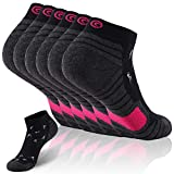 Ultralight Athletic Running Socks, Gmark Tennis Socks Socks with Seamless Toe, Cushion Padding For Adults, Father's Gift 6 Pairs Black&Rose Red Large