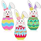 Jetec 3 Pieces Wood Bunny Decor, Rustic Spring Easter Decor, Bunny and Egg Sign Wooden Tabletop Decor for Desk Office Home Party Holiday Easter Decoration